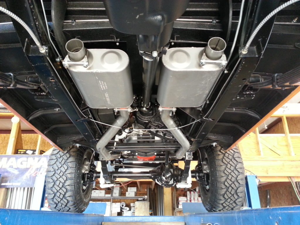 Fully restored International Scout that a customer brought in for us to build a true dual exhaust system with Flowmaster mufflers. We took our time on this job to make it as perfect as we could. This is a pay-to-play business so when the customer wants to pay us to make it perfect, we're more than happy to do so.