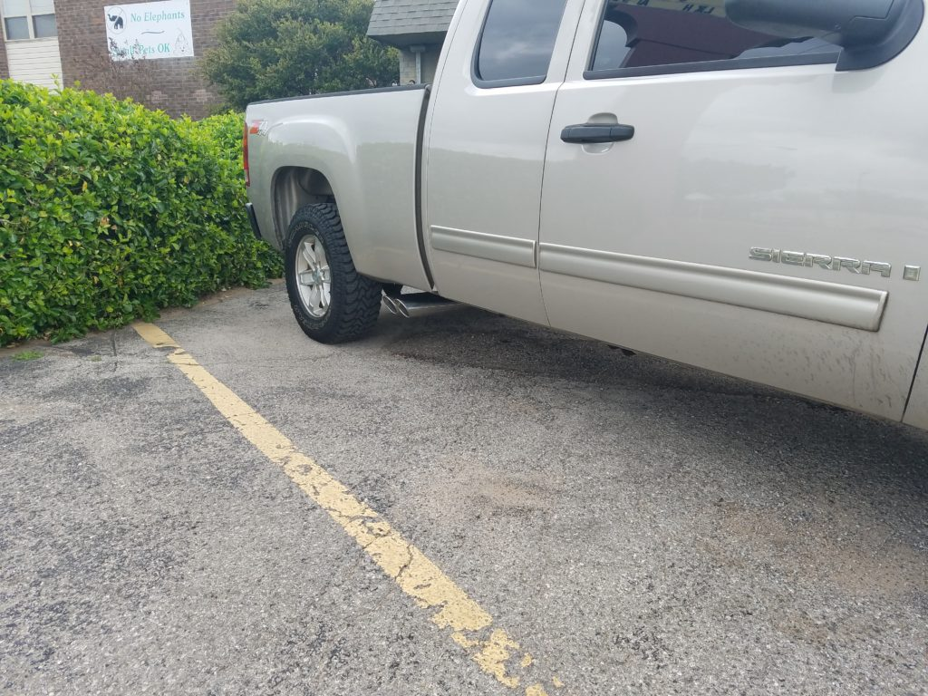 "2013 Chevy Silverado that the customer requested true dual exhaust with both tailpipes and tips exiting out of the passenger side of the truck, in front of the rear tire. We call these ""shotgun"" tailpipes."