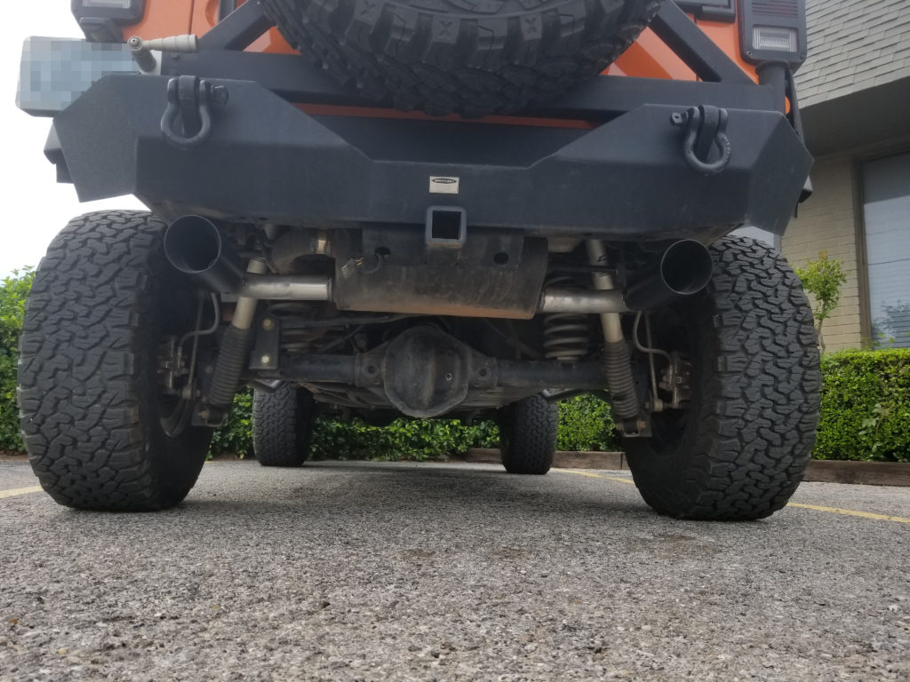 2015 Jeep that the customer had purchased an aftermarket, high flow, pre-built, axle-back exhaust system for. He was unhappy about the fitment and tips included so he had us fix those issues.