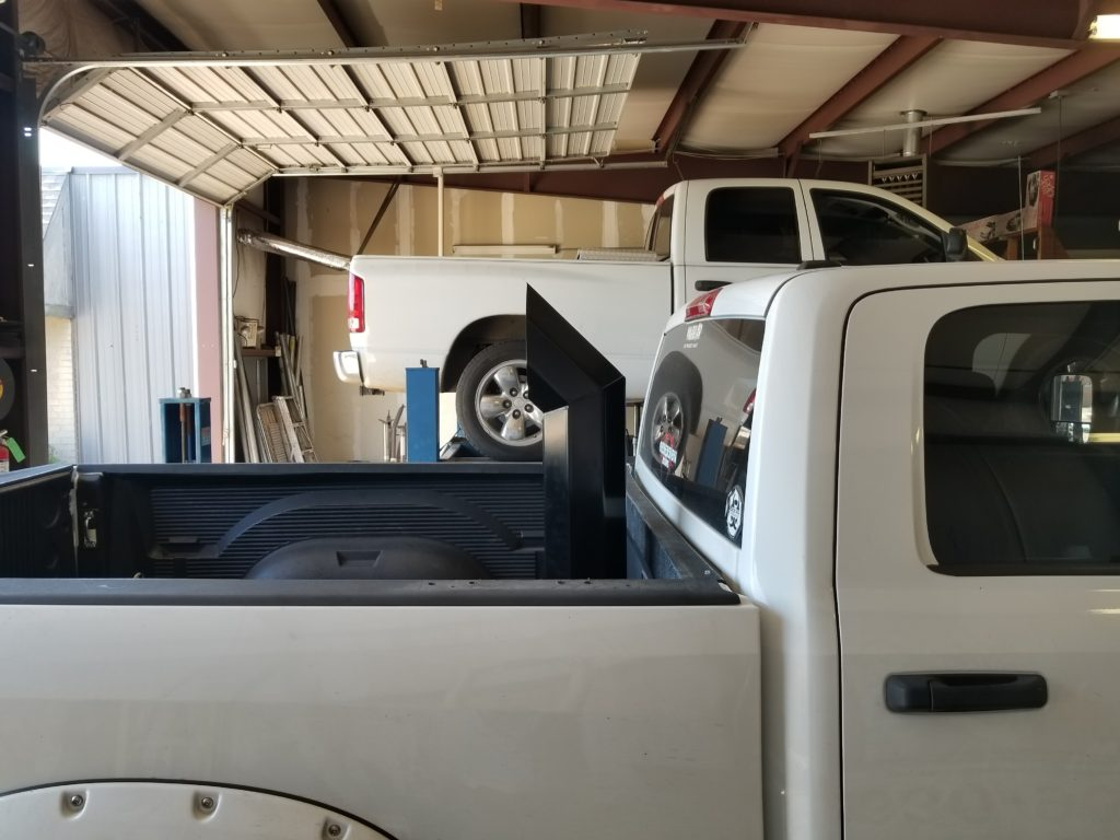Dodge Cummins where the customer requested that we install a stack on his truck. We require that the hole in the bed already be present - but we're happy to mark it for you, if needed - in order to install any sort of stacks.